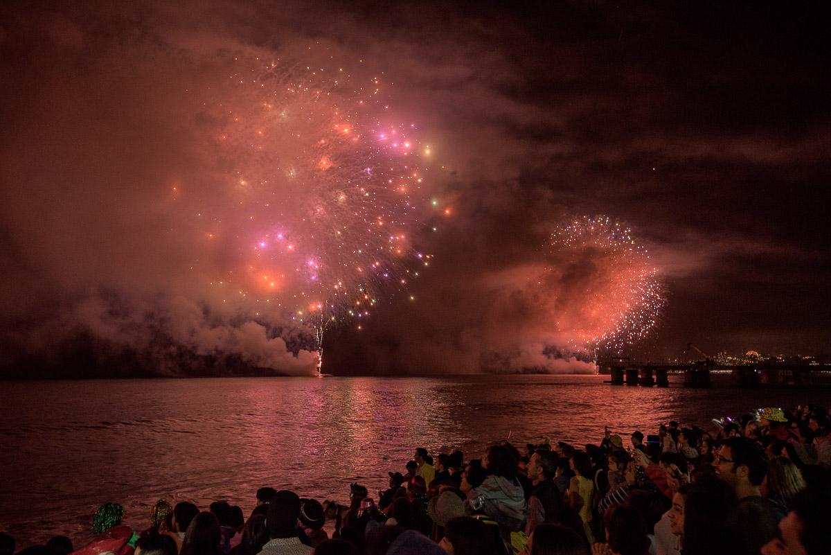 Celebración del año nuevo 2016, Viña del Mar, V Región, Chile.